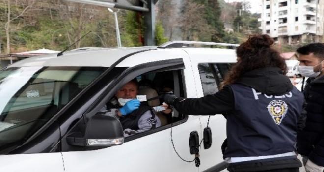 Rize Polis Noktasında Türkiye'de İlk Kez Koronavirüs Taraması ve Varış Kontrol Belgesi Uygulaması Başlatıldı