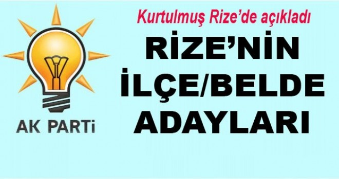 Ak Parti Rize ilçe ve Belde Belediye Başkan Adayları