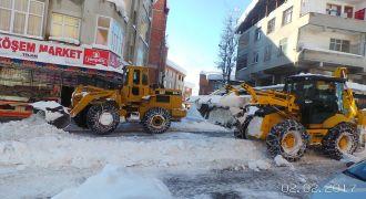 Kendirli Belediyesi kar temizleme çalışması